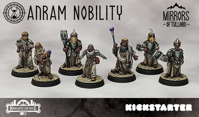 The 7 figures included in the Anram Nobility pledge on Kickstarter